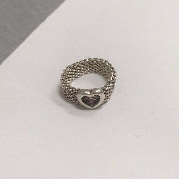 Tiffany Co Mesh Heart Ring Size 10 Authentic